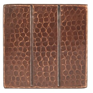 """4"""" x 4"""" Hammered Copper Linear Tile in Oil Rubbed Bronze (Set of 4) by"""