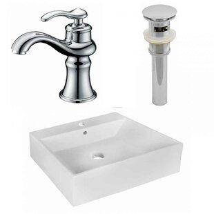 Great Price Ceramic Rectangular Vessel Bathroom Sink with Faucet and Overflow By American Imaginations