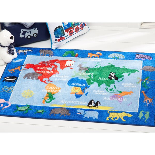 Eric carle world map educational blue area rug reviews wayfair gumiabroncs Image collections