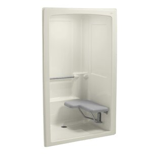 Freewill 52 x 38-1/2 x 84 Barrier-Free Shower Stall with Brushed Stainless Steel Grab Bars and Seat At Right by Kohler