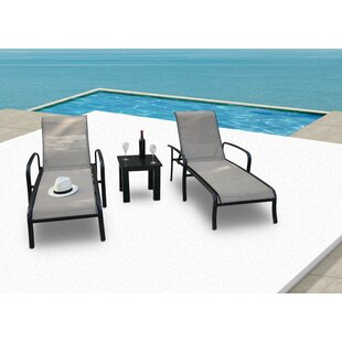 Latitude Run Herald Reclining Chaise Lounge with Table