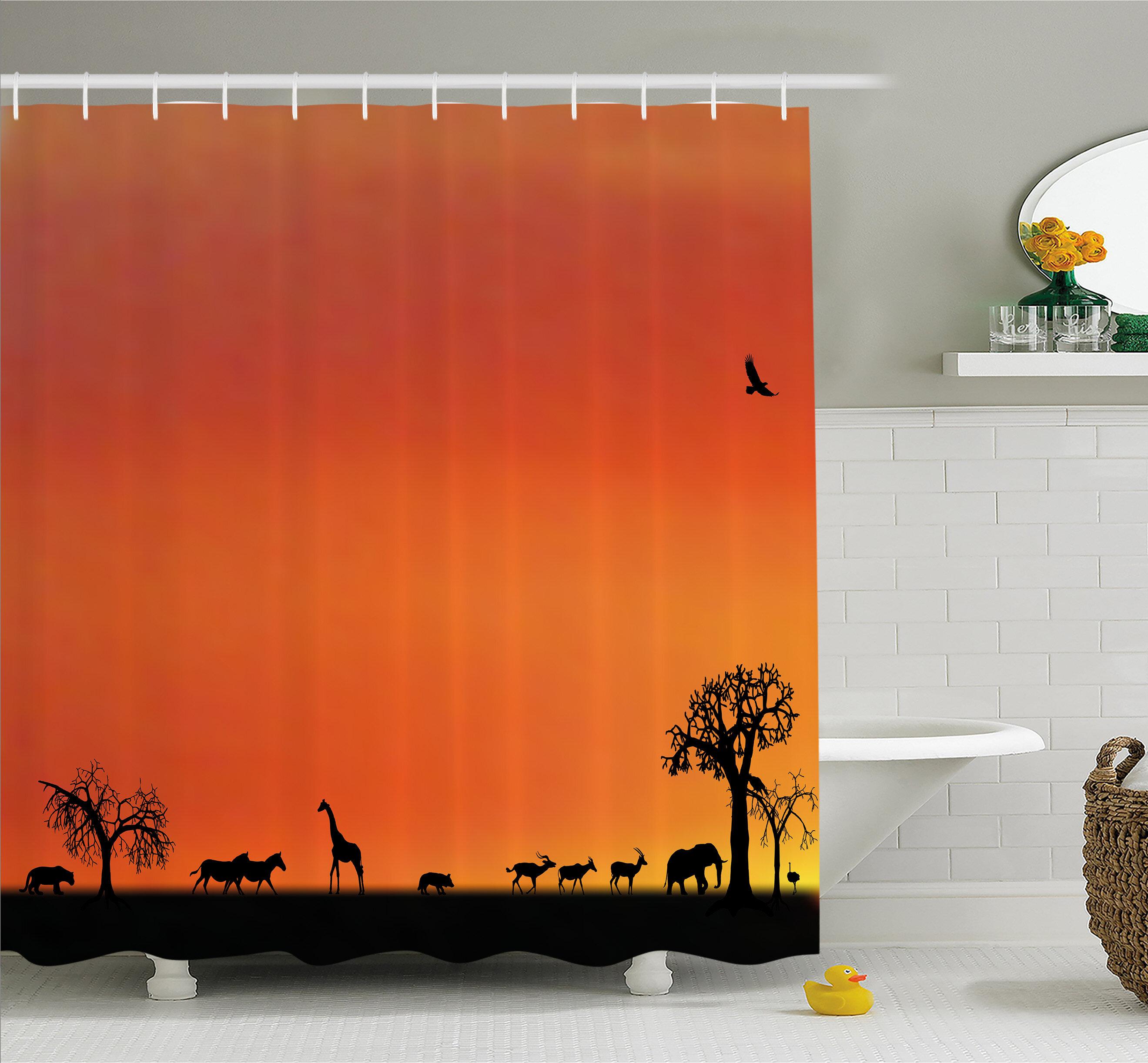 East Urban Home Wildlife Panorama Of Safari Animals Gulls Reflections In Background At Sunset Shower Curtain Set Wayfair