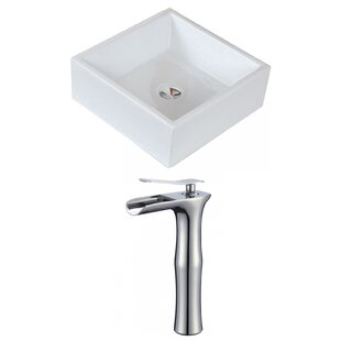 Compare Ceramic Square Vessel Bathroom Sink with Faucet ByRoyal Purple Bath Kitchen