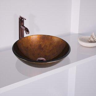 VIGO Russet Glass Circular Vessel Bathroom Sink with Faucet