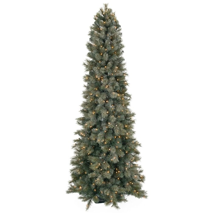 Tall Slim Christmas Tree.Frosted Slim 7 5 Green Pine Artificial Christmas Tree With 450 Clear White Lights