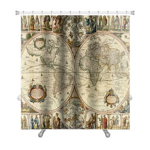 Earth Old Paper World Map Premium Shower Curtain