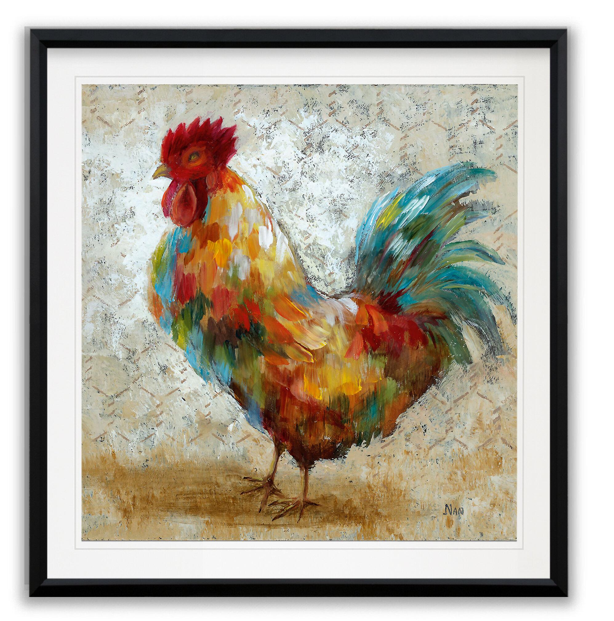 August Grove Fancy Rooster Ii Framed