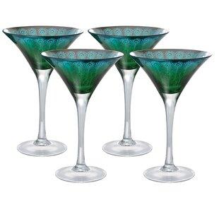 Hastings Peacock 8 Oz. Martini Glass (Set of 4)