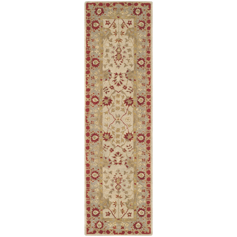 Charlton Home Tingley Hand Tufted Wool Ivory Light Gray Red Area Rug Wayfair