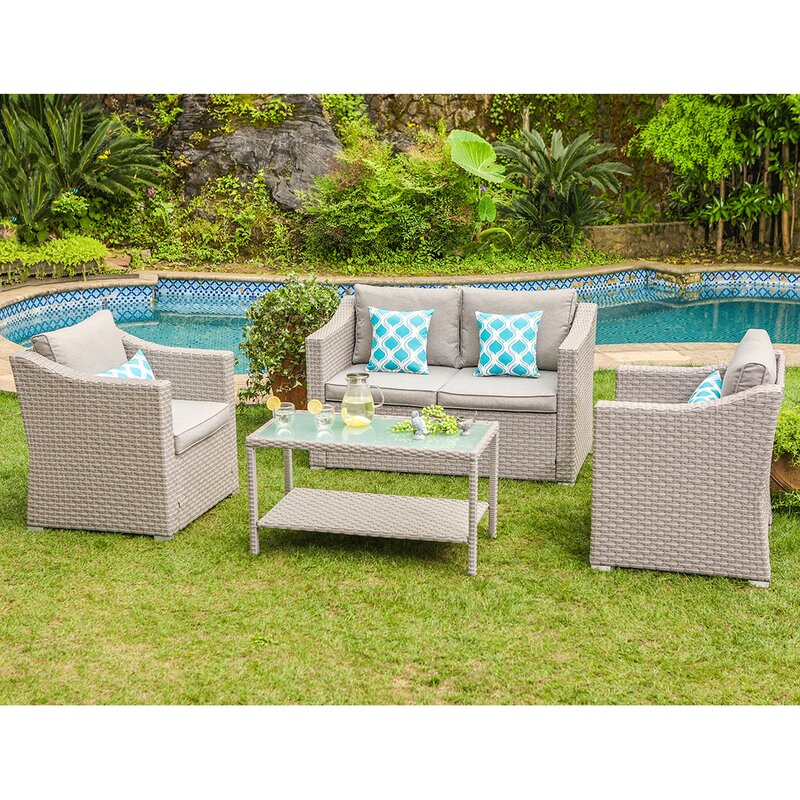 Gosser 4-Piece Rattan Sofa Seating Group with Cushions