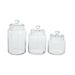 Glass 3 Piece Kitchen Canister Set