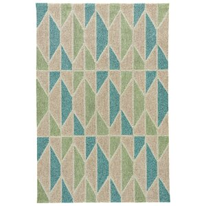 Throncliffe Tan/Teal Indoor/Outdoor Area Rug