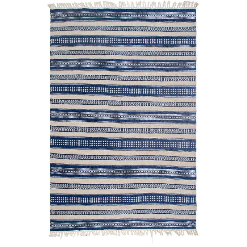 Estate Hand Woven Bluewhite Indooroutdoor Area Rug Reviews