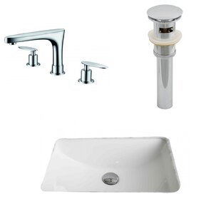 Price comparison Ceramic Rectangular Undermount Bathroom Sink with Faucet and Overflow By American Imaginations