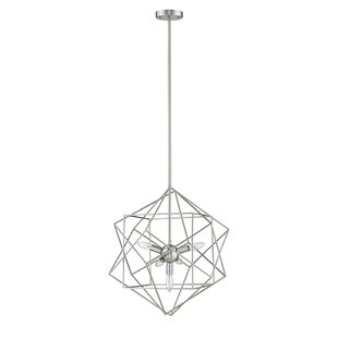 Kiku 5-Light Geometric Chandelier by Ove Decors