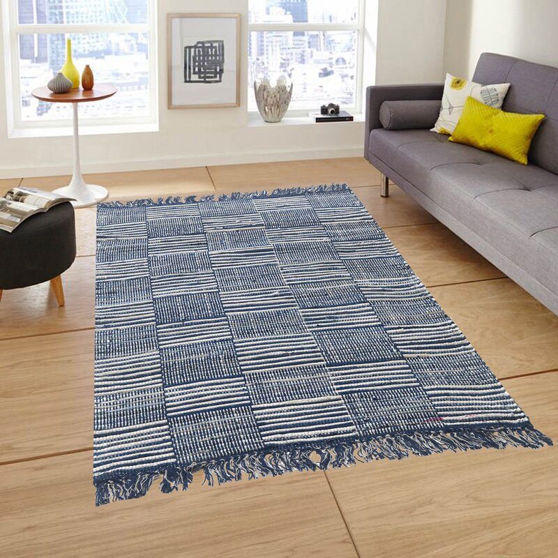 Highland Dunes Stringfellow Checkered Handmade Flatweave Cotton Blue Off White Area Rug Wayfair