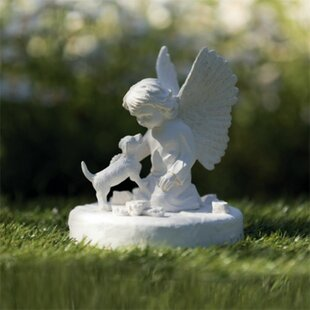 Aeliana Memorial Stone Dog With Angel By Sol 72 Outdoor