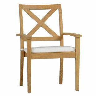 Drake X Back Teak Stacking Patio Dining Chair with Cushion