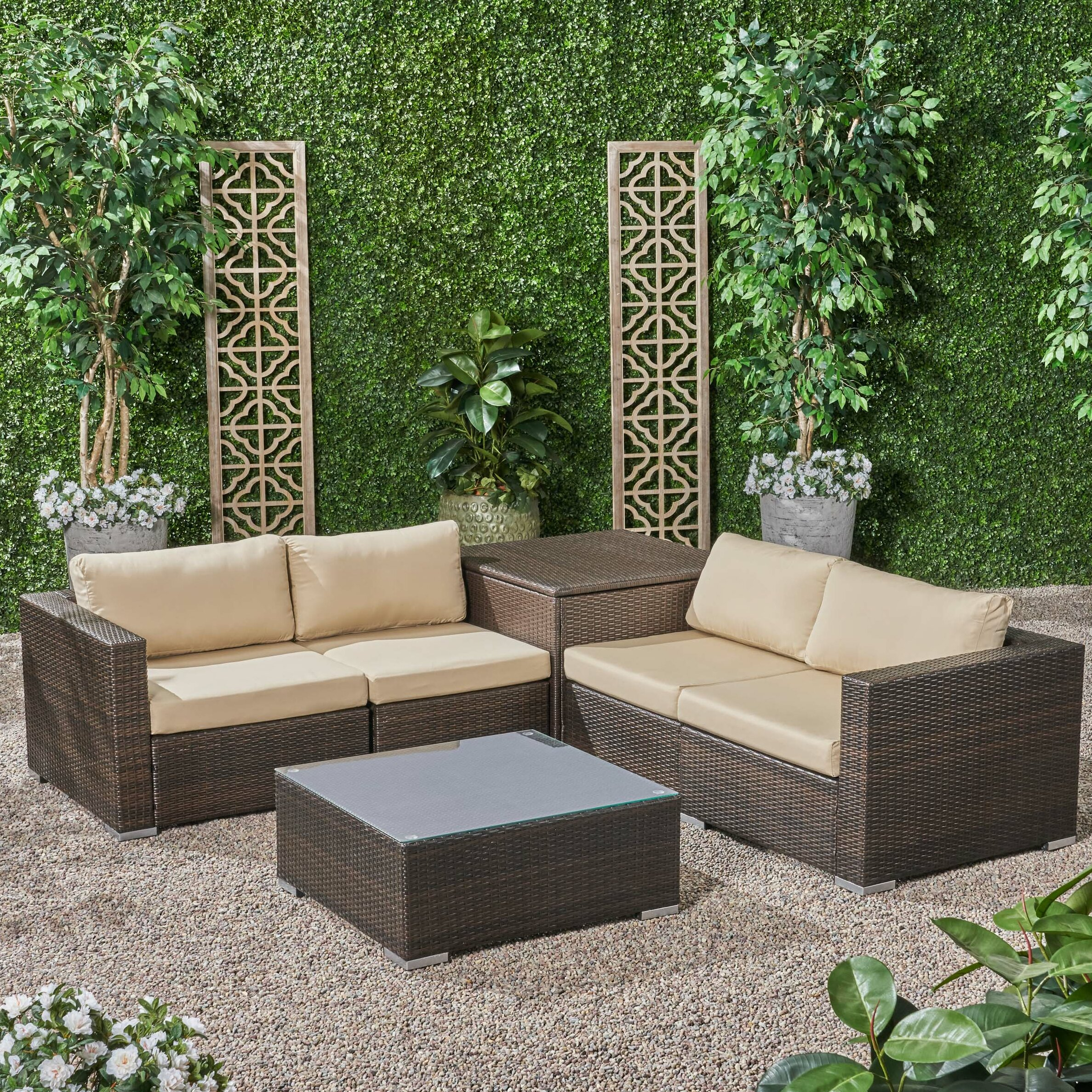 Swell Roxann Outdoor 4 Seater Wicker Sofa Set With Storage Ottoman And Sunbrella Cushions Ocoug Best Dining Table And Chair Ideas Images Ocougorg