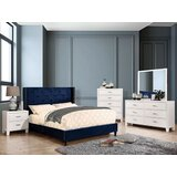 Eita Navy Blue Queen Bed With Night Stand, Dresser And Mirror Set by Mercer41