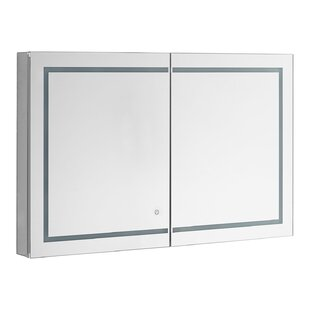 Rabun 48 x 30 Recessed or Surface Mount Frameless Medicine Cabinet with 3 Adjustable Shelves and LED Lighting