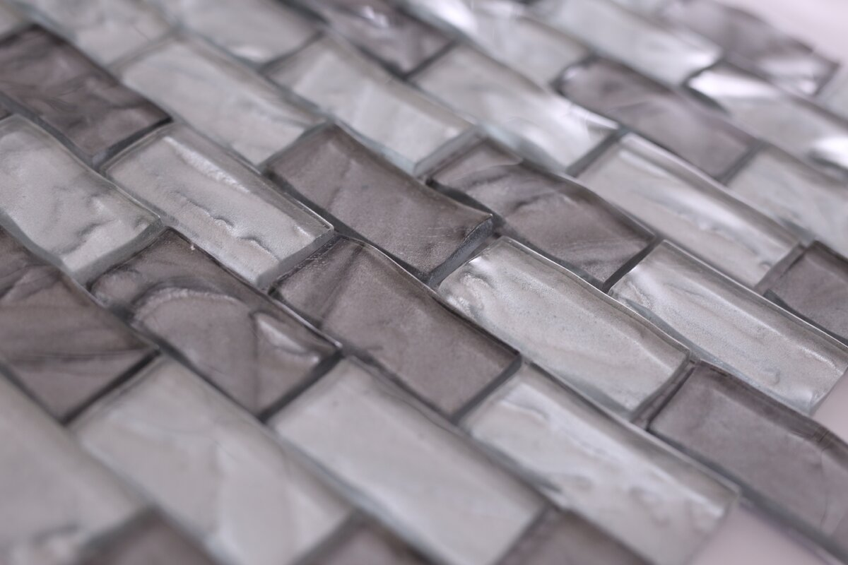Vetromani barcelona 3d wavy brick 1 x 2 glass subway tile in gray barcelona 3d wavy brick 1 x 2 glass subway tile dailygadgetfo Image collections