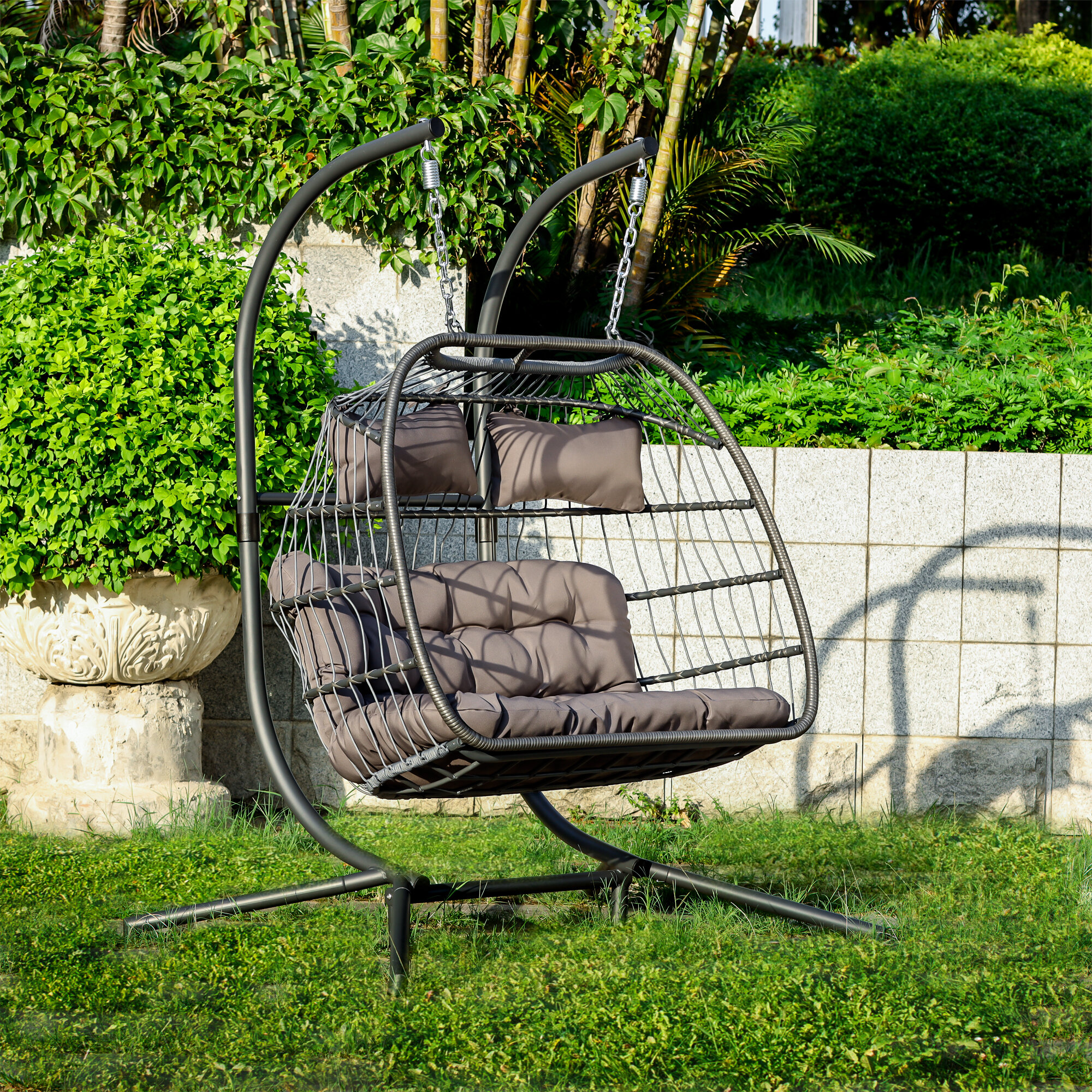 Picture of: Casainc 2 Person X Large Double Swing Chair Wicker Hanging Egg Chair Wayfair