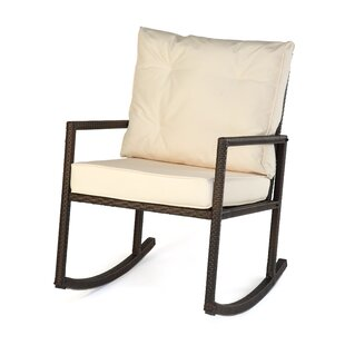 Trademark Innovations Rattan Rocker Chair with Cushion