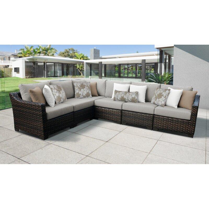 Kathy Ireland Homes & Gardens River Brook 6 Piece Outdoor Wicker Patio  Furniture Set 06v