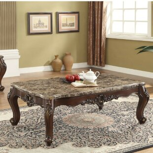 Alverta Traditional Rectangular Wood and Marble Coffee Table