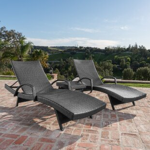 Abra Outdoor Straps Wicker Arm Chaise Lounge