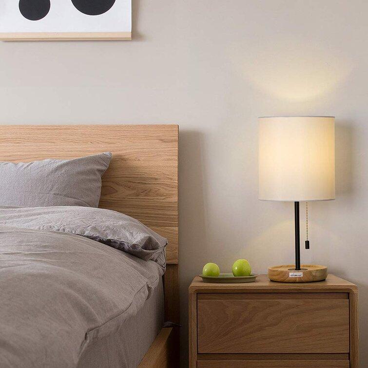 Haitral 17 3 Light Brown Bedside Table Lamp Wayfair