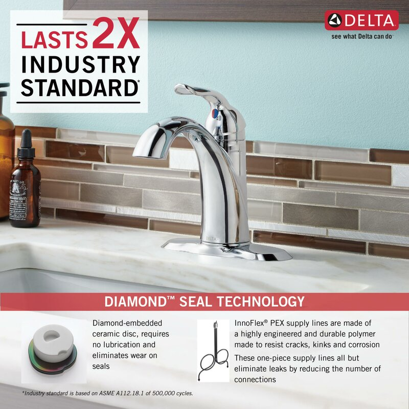 Delta Lahara Single hole Bathroom Faucet with Drain Assembly and ...