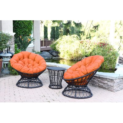 Barrigan 3 Piece 2 Person Seating Group with Cushions Fabric: Orange by World Menagerie