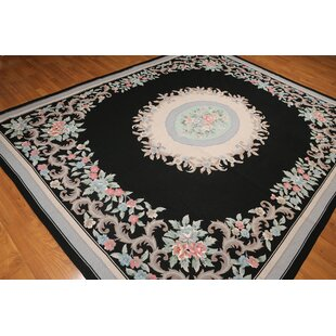 Look for One-of-a-Kind Repp Aubusson Oriental Hand-Knotted Wool Black/Peach Area Rug ByAstoria Grand