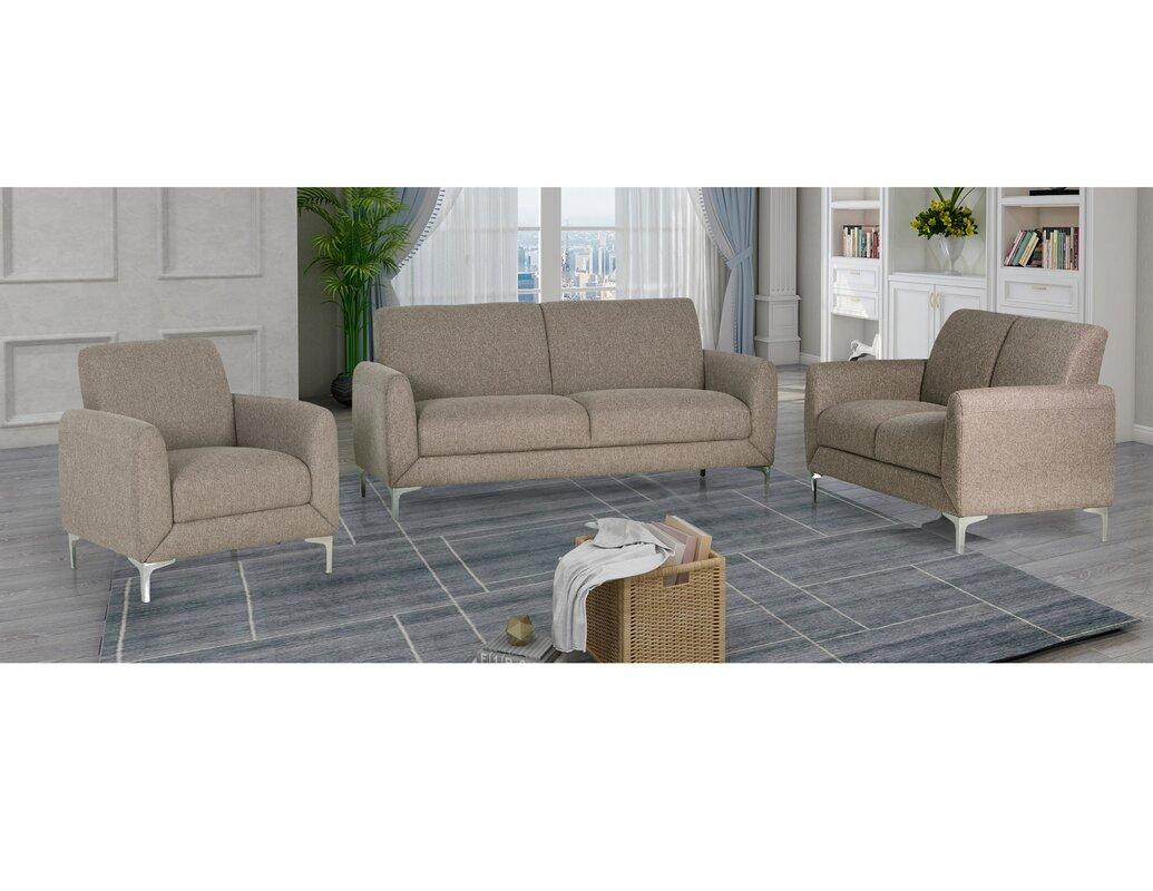 Orren Ellis Geis 3 Piece Living Room Set