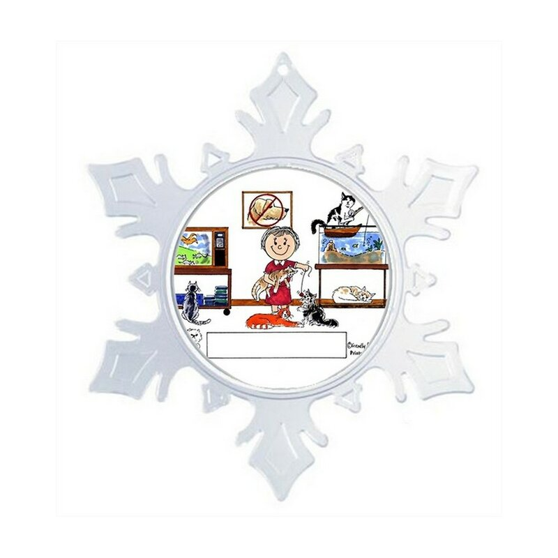 The Holiday Aisle Personalized Friendly Folks Cartoon Snowflake Cat Lover Christmas Holiday Shaped Ornament Wayfair