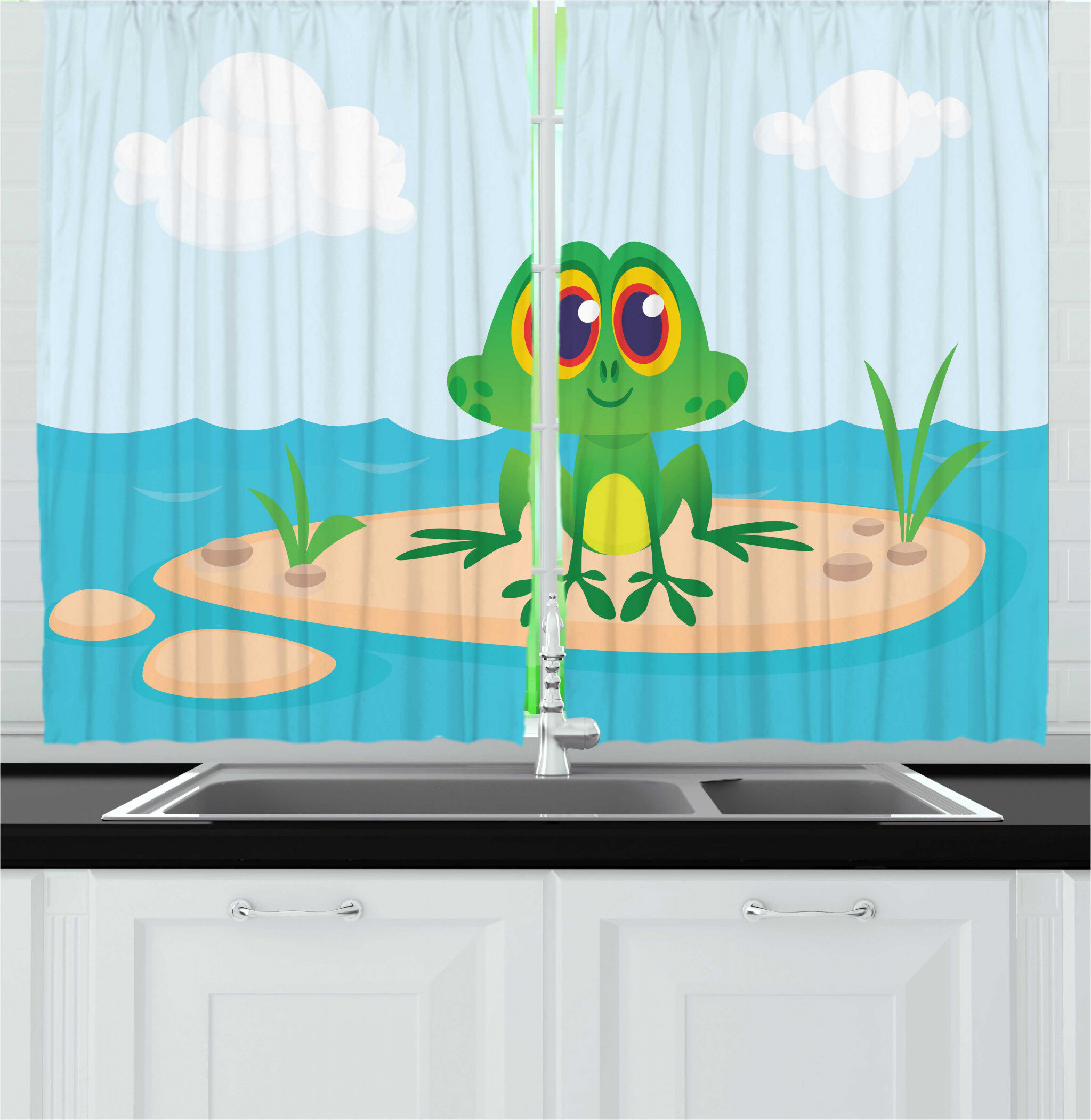 East Urban Home 2 Piece Frogs Cartoon Character Animal Sitting On Ground Middle Of Lake Nursery Themed Nature View Kitchen Curtain Set Wayfair