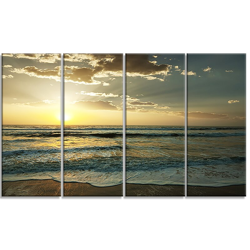 Designart Dark Beach And Waves At Sunset 4 Piece Photographic Print On Wrapped Canvas Set Wayfair