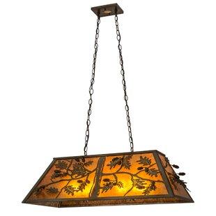 Meyda Tiffany Oak Leaf and Acorn Oblong 6-Light Kitchen Island Pendant
