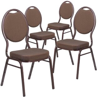 Hercules Series Armless Teardrop Back Banquet Stacking Chair with Cushion Vein Frame (Set of 4) by Flash Furniture