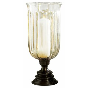 Step Base with Fluted Brass/Glass Hurricane