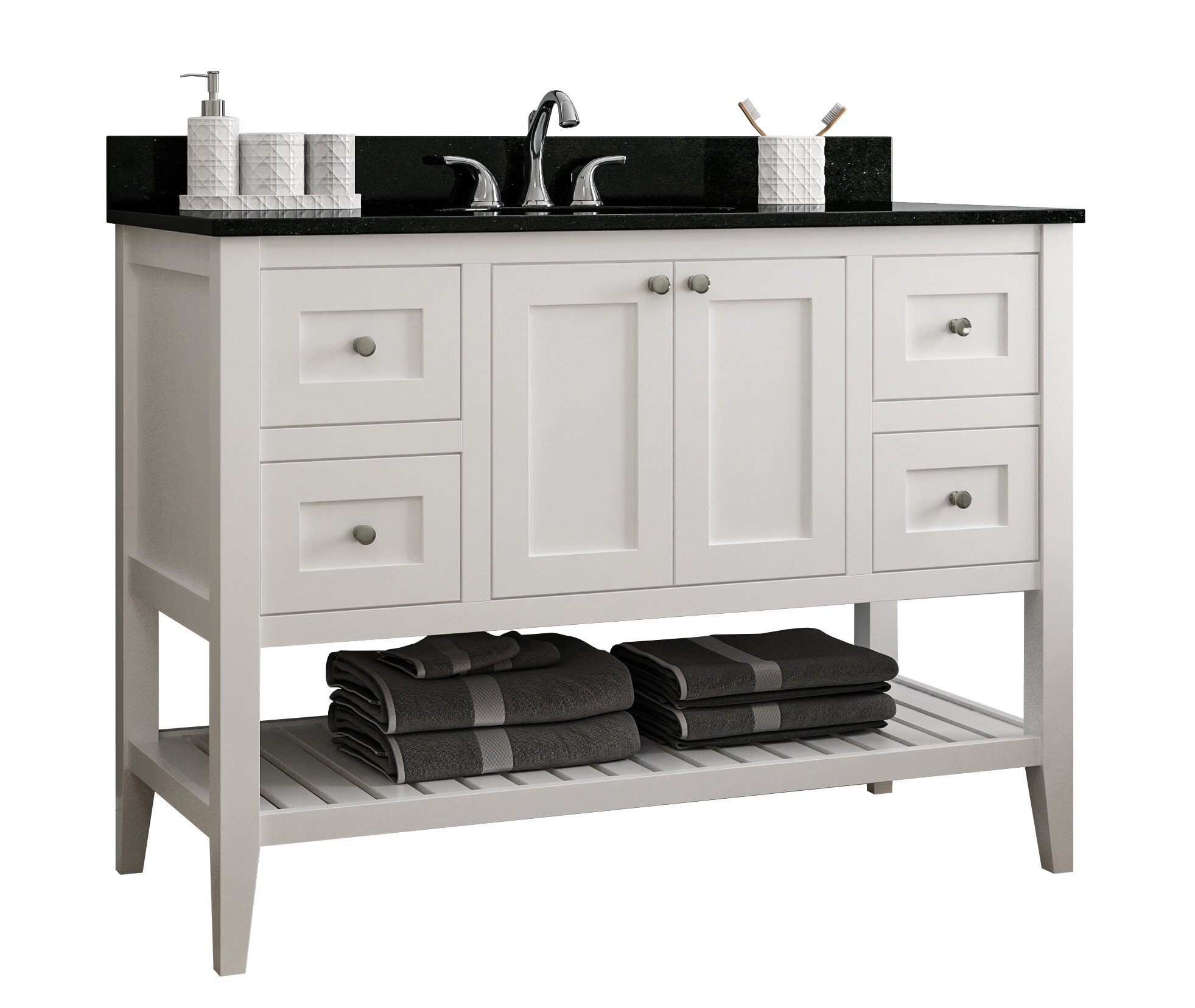 Red Barrel Studio Akinola 48 Single Bathroom Vanity Base Only In Painted Wood Finish Reviews Wayfair