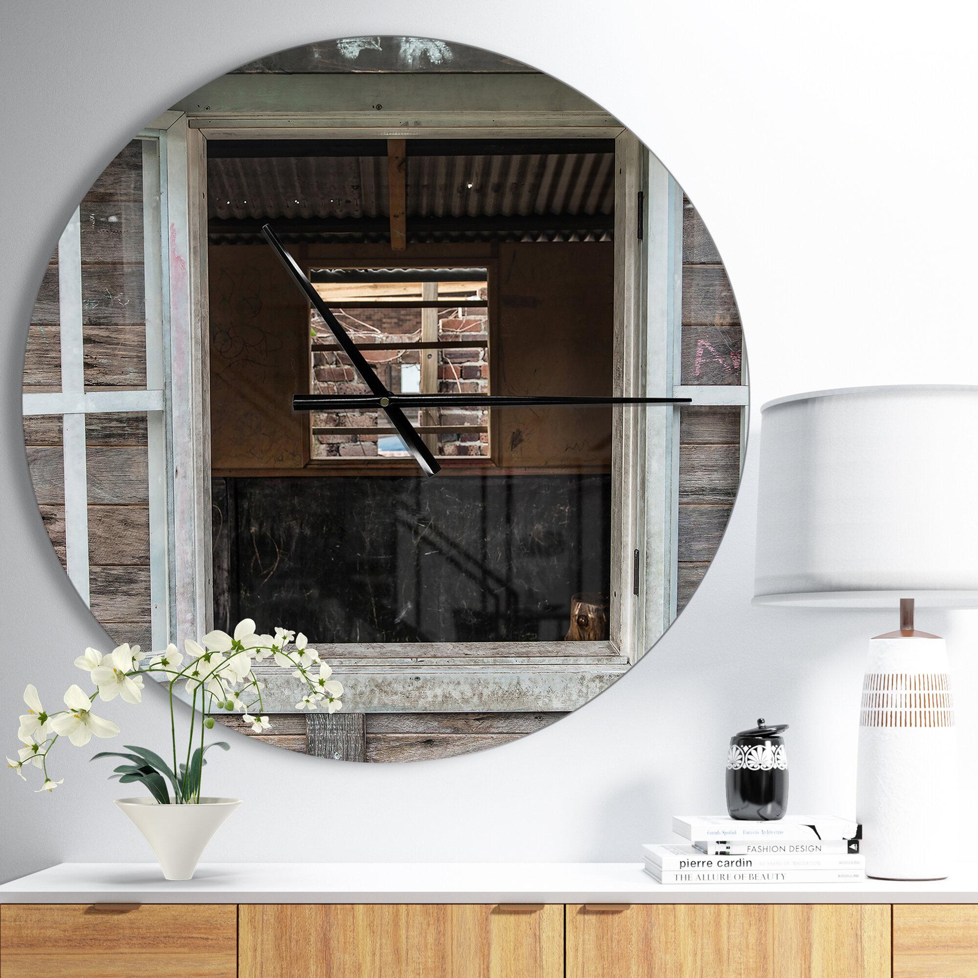 East Urban Home Farmhouse Designart Wooden And Windows Wall Clock Wayfair