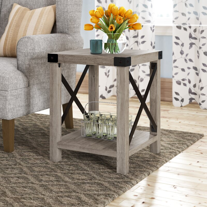 Foundry Select Arsenault End Table With Storage Reviews Wayfair