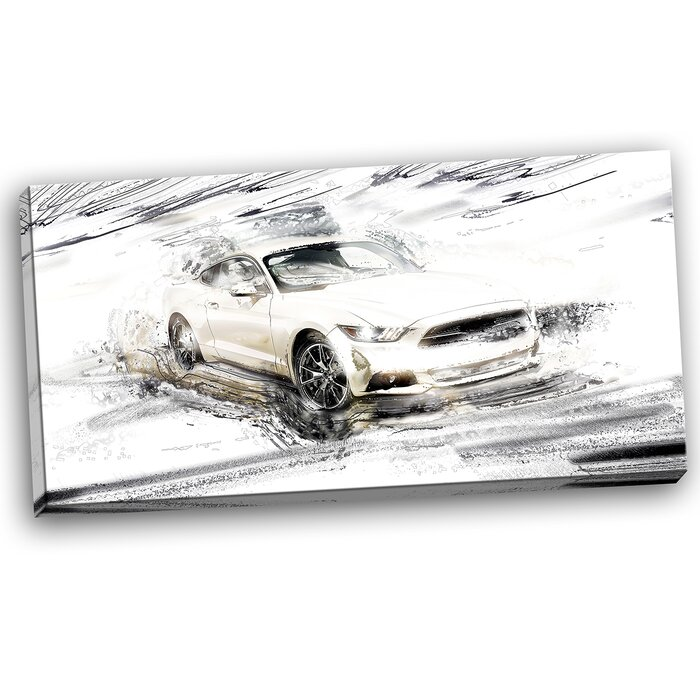 designart super charged white muscle car graphic art on wrapped