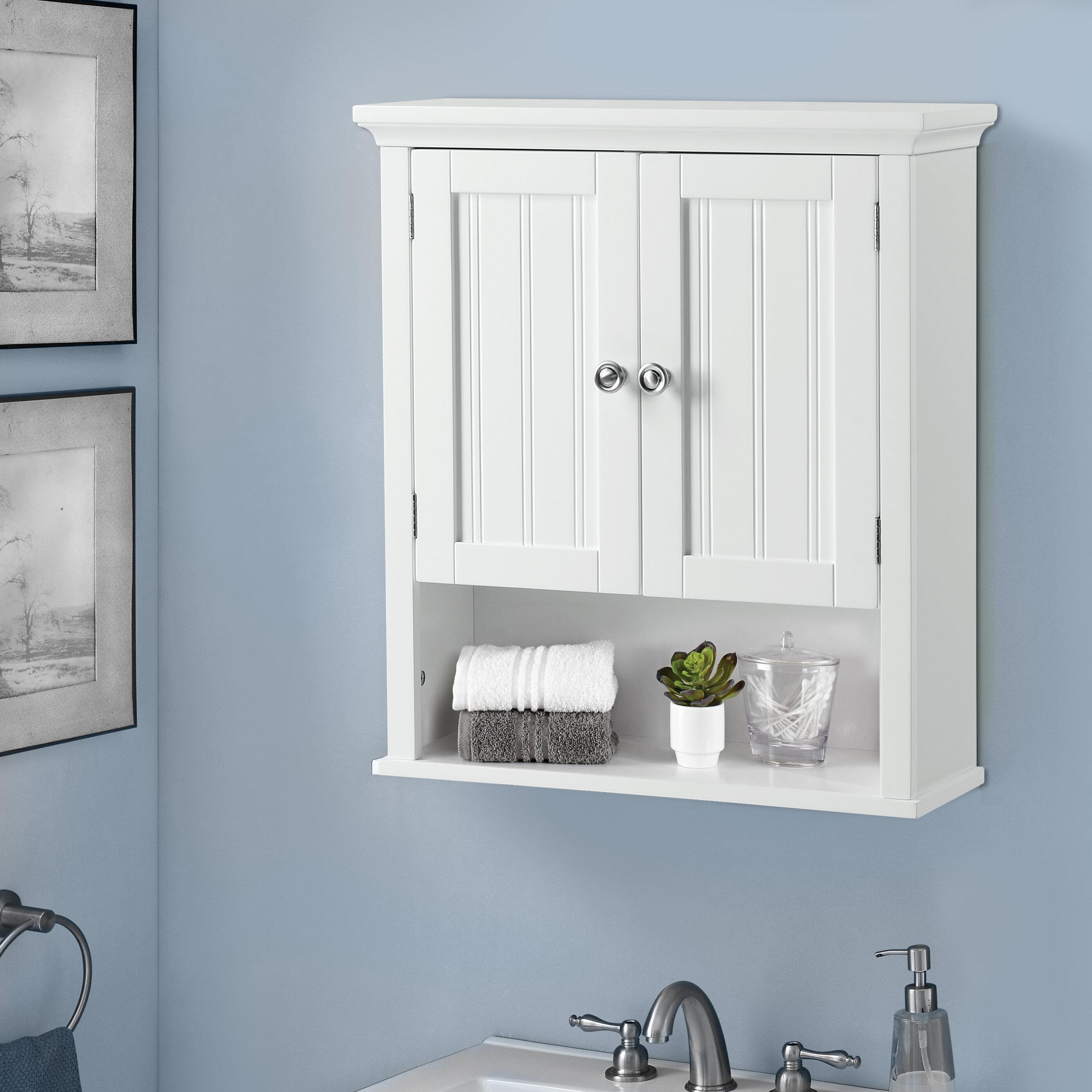 Bathroom Storage Cabinet Wall Mount Restroom Toiletry Organizer Cupboard Pantry
