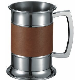 Leather Wrapped Beer Glass 18 oz. Stainless Steel