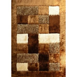 Shaggy Viscose Design Brown Area Rug