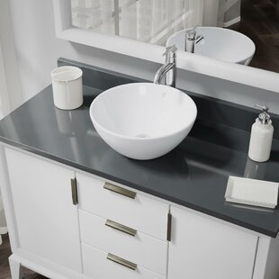 René By Elkay Vitreous China Circular Vessel Bathroom Sink with Faucet and Overflow